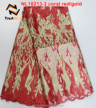 trustwin cheap lace fabric net lace for girl party dress of NL10213-3 coral red/gold