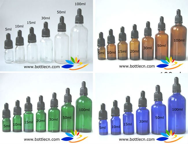 5ml/10ml/15ml/20ml/30ml/50ml/100ml clear/amber/cobalt blue/green glass essential oil <strong>bottle</strong> with tamper evident black pipette
