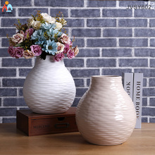 Elegant ripple finish ceramic vase