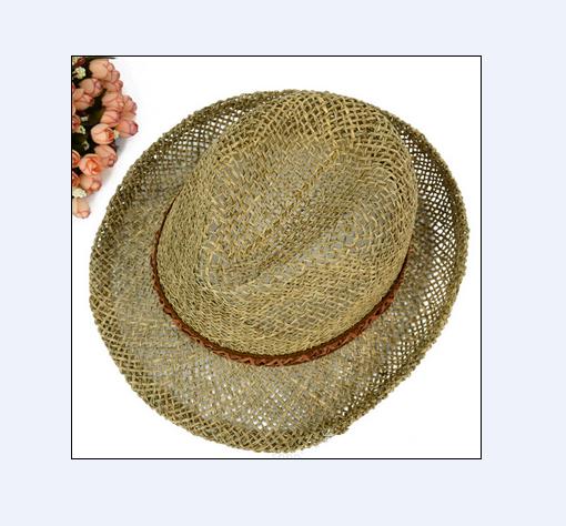Fashion design handmade men's straw hat paper straw fedora hat