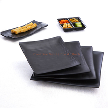 Pottery color 8.3 9.3 10.3 inch sushi dinner <strong>plate</strong> 100% melamine tableware dinnerware set square black plastic <strong>plate</strong>