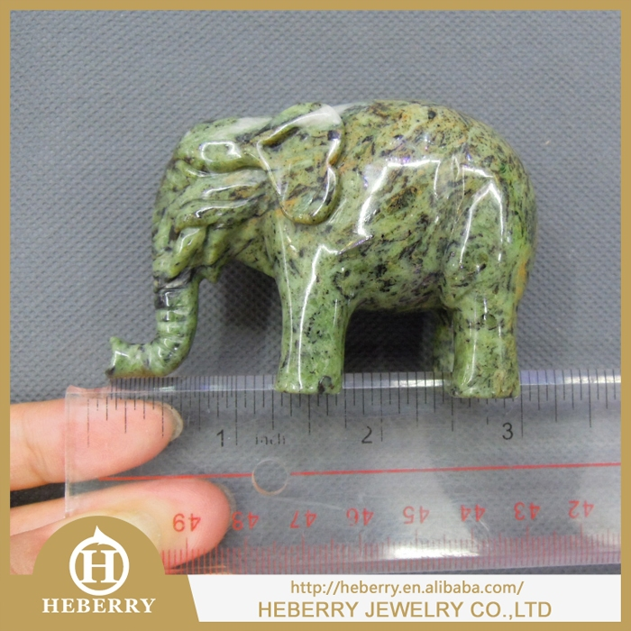 Hand Carved Natural Semi-precious Stone Blue Howlite Large Animal African turquoise Elephant Carvings