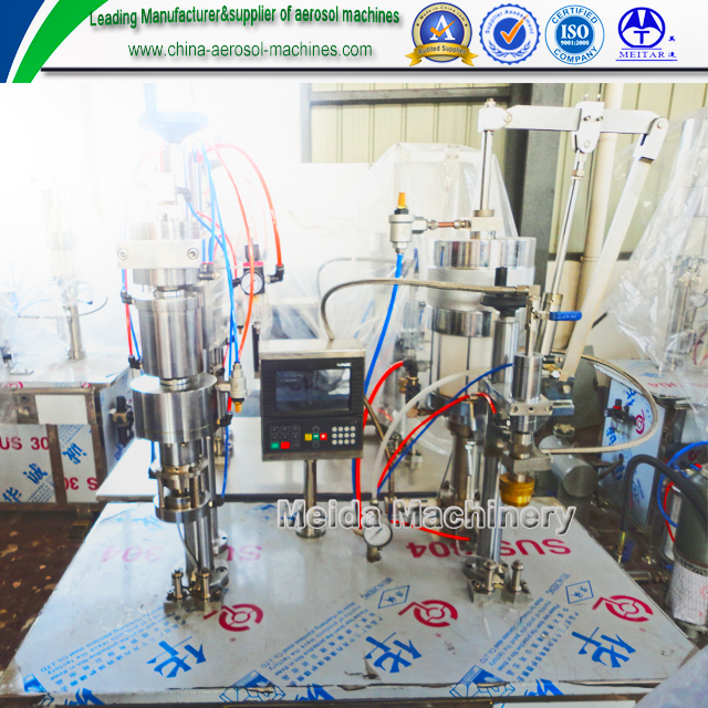 Semiautomatic bag on valve aerosol filling machine/shaving gel filling machine