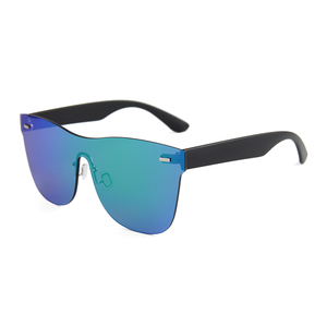 Matte black temple sun glasses UV400 mirror lens glasses rimless frame sunglasses
