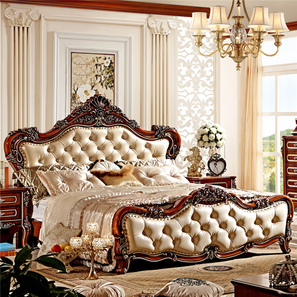 Classic king size bedroom set european style hotel for China furniture bed