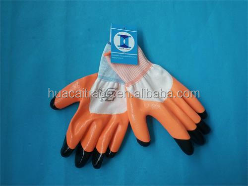 nitrile 4/3 coated nylon liner glove/finger reforced nitrile glove/two color nitrile glove