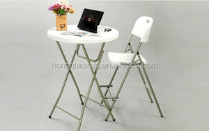 plastic folding round bar table, outdoor high top bar table and chair, high bar cocktail table