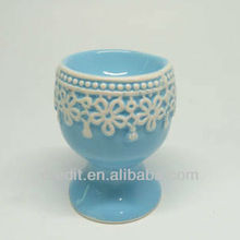 Latest handmade disposable lace design ceramic egg cup