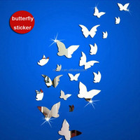 3d Butterfly acrylic mirror wall stickers most modern plastic pack real special offer Living Room Acrylic diy Mirror stickers