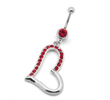 Red Rhinestone 316L Surgical Grade Stainless Steel Heart Dangle Belly Button Navel Ring Bar