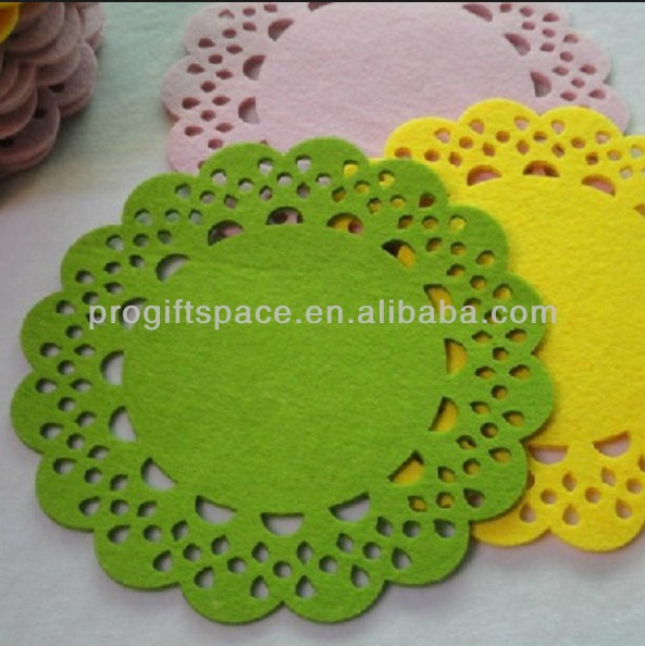 2017 eco friendly handmade felt sunflower placemat - OEM & ODM welcomed