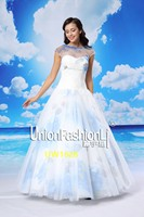 China suppliers garments ocean style A line short sleeve corset two-piece wedding gown 2016