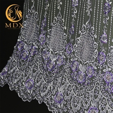 New coming styles have stock the cheap handwork beaded with sequins lace wedding dress decorative lace fabric