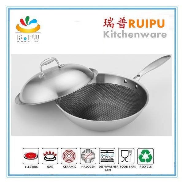 chinese 32 cm big korean king induction wok range stainless steel wok pan