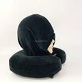 Wholesale travel head chin support memory foam plane sleeping neck pillow with hood