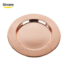 13 Inch Stainless Steel Charger <strong>Plate</strong> Rose Gold For Wedding Decoration