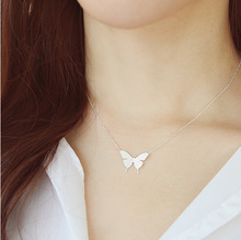 Wholesale Dainty Tiny Butterfly Necklace Silver Plated Butterfly Insect Jewelry 925 Sterling Silver Necklace in White Copper