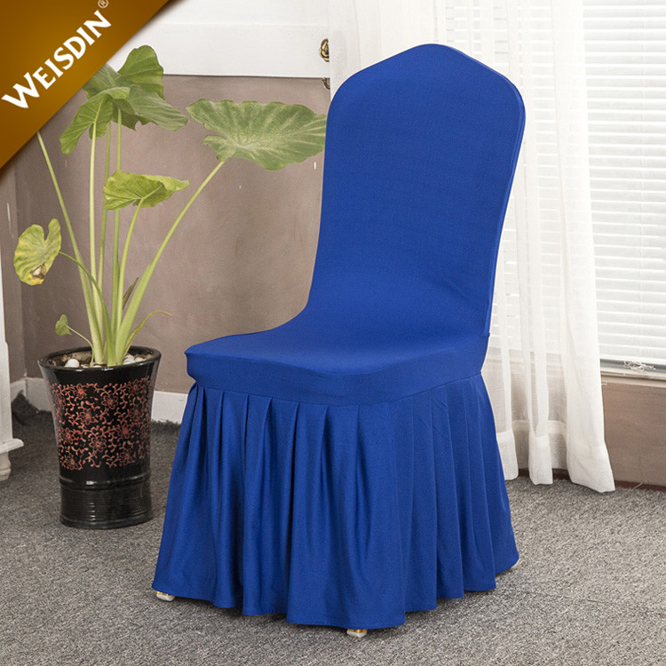 Wholesale cheap navy blue polyester pleated lycra spandex banquet chair covers