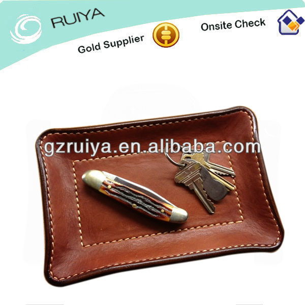 Leather Velet Tray Storage Tray Desk Accessory for Keys Wallet Change Pocket Knife Tray
