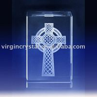 Optical Crystal Laser Engraving Cross Cube Christian Gifts