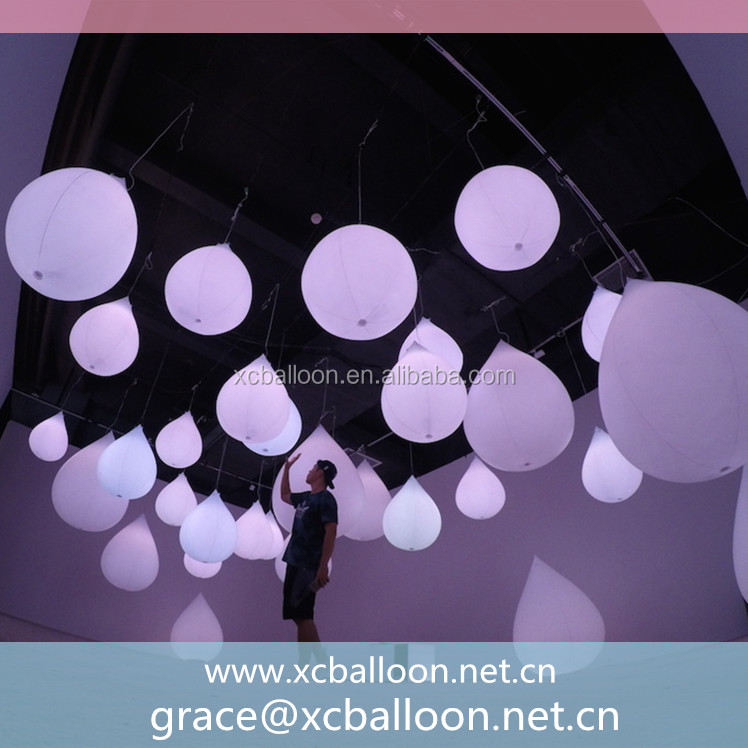 hot sale custom made inflatable rain drop with led light for wedding decorating