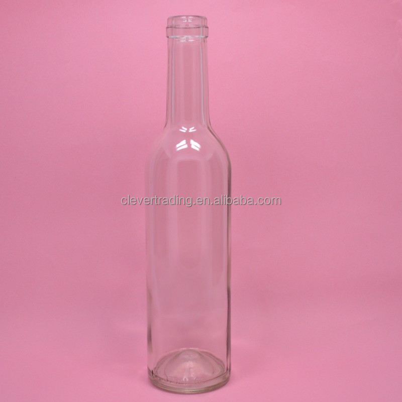 380ml Clear Tall Wine Glass Bottle with Cork Top