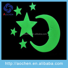 Brand new injection glow in the dark sticker with customized sizes, brighter and keep longer time