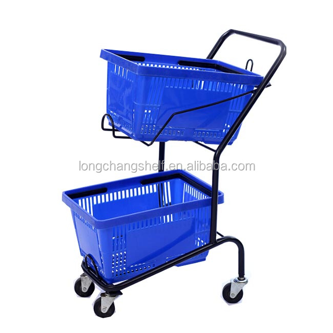 China Suppiler 2 Tire Grocery Shopping Basket/Plastic Double Baskets Shopping Trolley For Sale