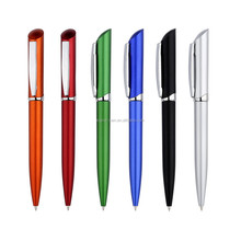 Twist action metallic lacquer barrel metal clip ball point pen for office promotion