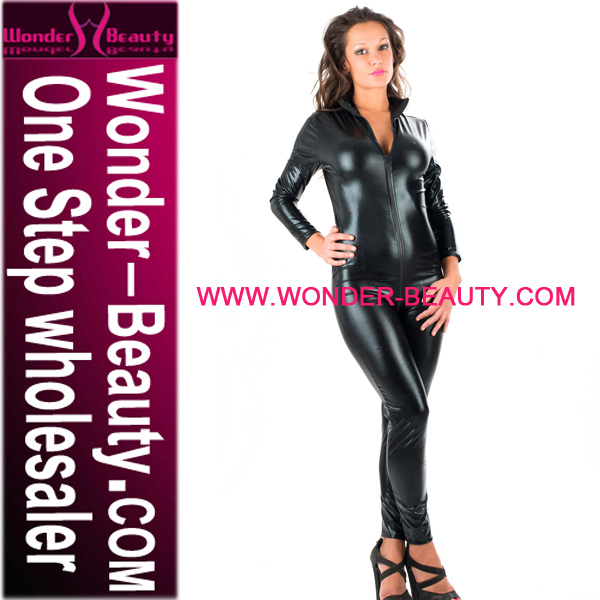 High Quality Black Sex Lady Wet Look Leather Catsuit