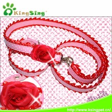 China Pet Accessories Gold Supplier ,Beautiful Lace Dog collar and leash suits