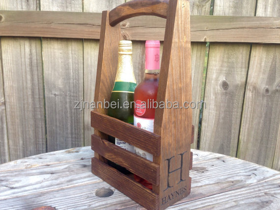 Custom two pack wooden wine carrier, wood 2 bottle totes