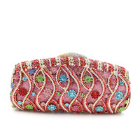 Hot selling crystal fashion designer bag with flowers beaded