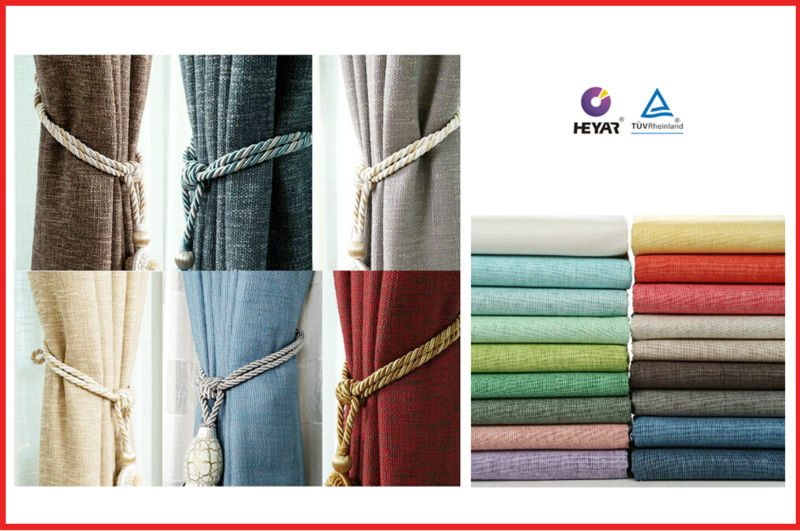 In China polyester linen modern thick luxury continuous curtain fabric