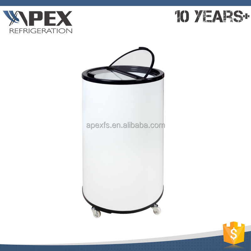 Supermarket promotional hot gas evaporated drip tray can shape can cooler fridge with body sticker