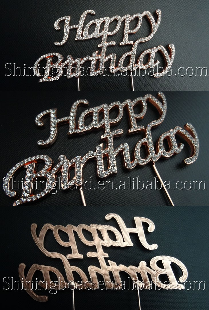 2016 Happy Birthday Cake Topper Wedding Rhinestone Cake Topper