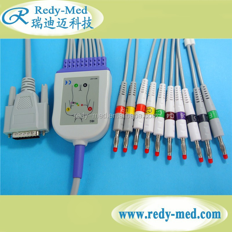 Nihon Kohden 9130/Mindray/Goldway 10 leads/12leads EKG cable,IEC.4.O Banana.