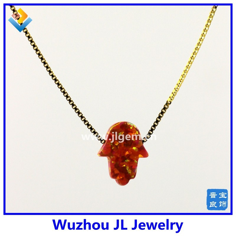 Alibaba Wholesale 18K Gold Plated Chain 8*10 MM Size OP25 Alizarin Crimson Hamsa Opal Necklace