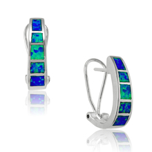 Unique Blue Fire Opal Stud Earrings For Women 925 Sterling Silver Filled Engagement Party Best Gifts