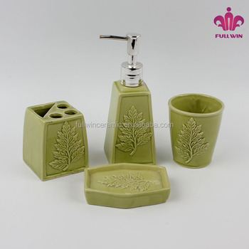 Ceramic Green Bathroom Accessories Set Ceramic Bath Set 4 With Green Leave Pa