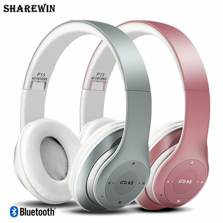 Bluetooth Headband Headphones Foldable P15 Wireless V4.1 Headphones HandsFree Headset With Mic/FM/TF Card/AUX Function