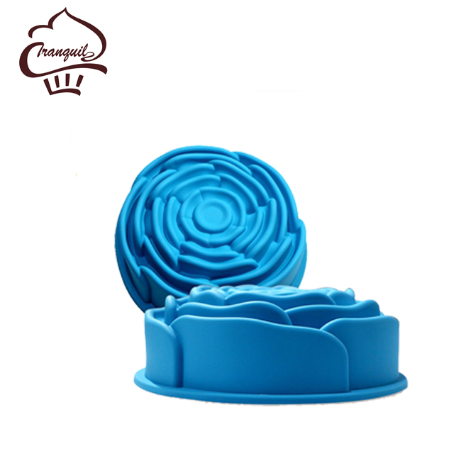 Decorating tools silicone rose shaped moon cake mould for diy baking cupcake