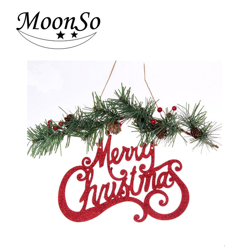 Wicker gift letters hang white snowflakes Christmas decoration ornaments MoonsoA4660