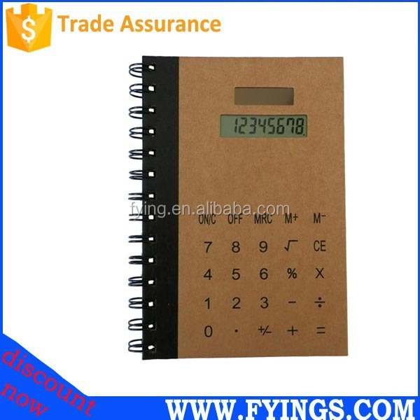 notebook with calculator/electronic calculator/8 digit solar calculator notebook 2015