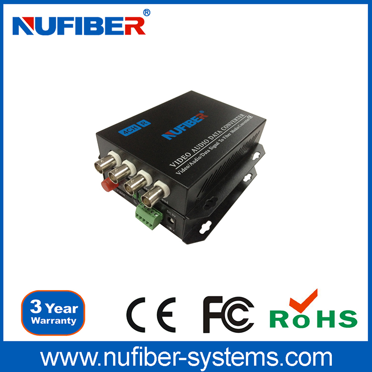 Nufiber Fiber Optic Equipment 4 Channel Digital Video Optical Converter / Transceiver Provider