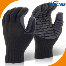 Black Cotton Latex Foam Coated Oilfield Shock Proof Impact Resistant Anti Vibration Gloves
