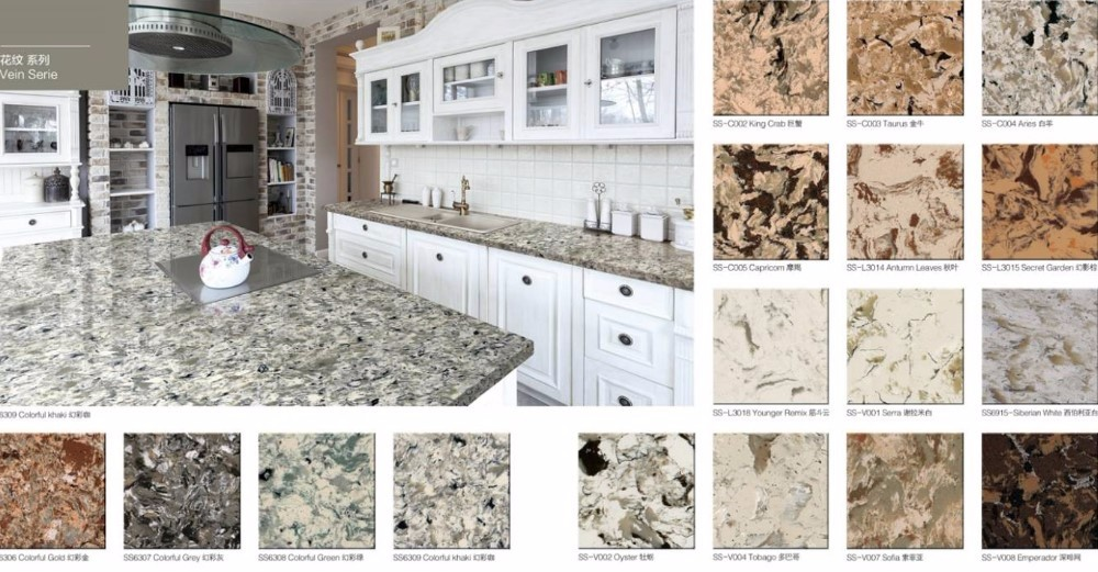 White quartz black venus quartz Kitchen countertop
