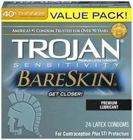 Trojan Brand Sensitivity Bareskin Lubricated Value Pack 24 Condoms Extra Thin