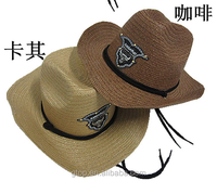 Cheap wholesale natural straw cowboy hat C-0041
