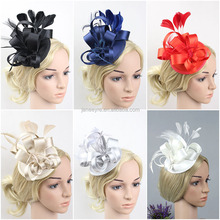 Wholesale 6 Color Feather Satin Fascinator Hair Clip Wedding Cocktail Hat
